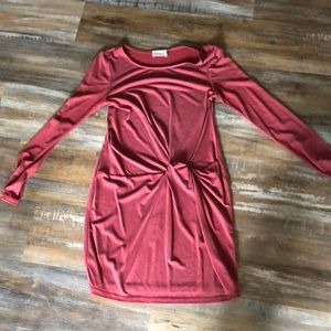 Long sleeve dress with knot on side- boutique